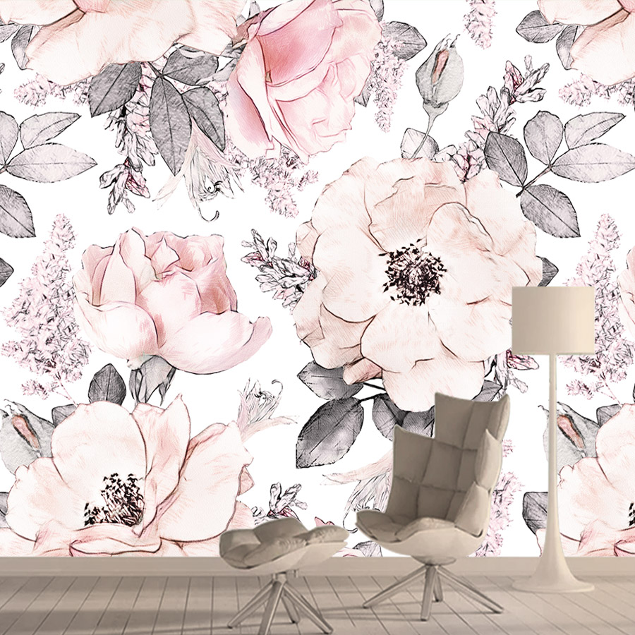 Vintage Pink Wallpapers For Living Room Flower 3d Photo Wallpaper Vinyl Wall Paper Papers Home Decor Murals Roll Self Adhesive