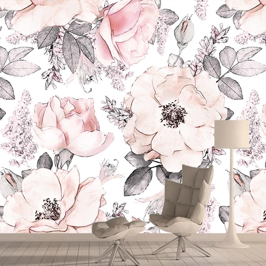 Vintage Pink Wallpapers For Living Room Flower 3d Photo Wallpaper