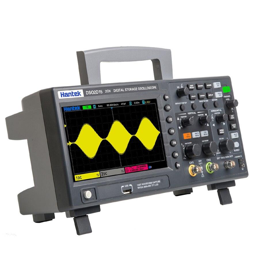 Осциллограф Hantek DSO2D10 DSO2D15 DSO2C10 DSO2C15 7 дюймов TFT LCD 2 канала + 1 канал, цифровой осциллограф, генератор осциллографа