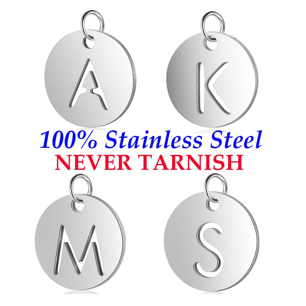 5 Pieces Stainless Steel Initial Name A-Z Letters Charm Wholesale Never Tarnish AAAAA Quality Pendants High Polished