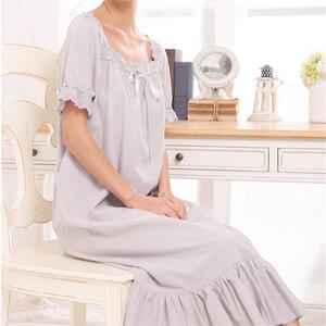 Image 2 - New Arrival Vintage koszule nocne Sleepshirts eleganckie damskie sukienki księżniczka bielizna nocna drukuj koszula nocna domowa koronkowa Sleep & Lounge # H875
