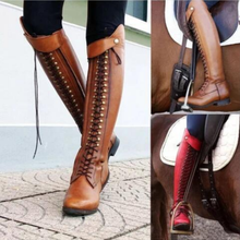 New Retro Women's Walking Shoes Ladies Long Boots Knee High Lace Up Flat Heels Tall Riding Knight Boots Shoes Plus Size 35-43