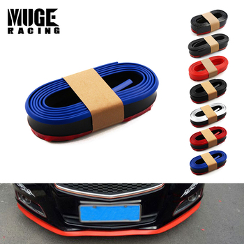 2.5m Universal Rubber Lip Skirt Protector Car Scratch Resistant Rubber Bumpers Car Front Lip Bumpers Decorate LKT006 image