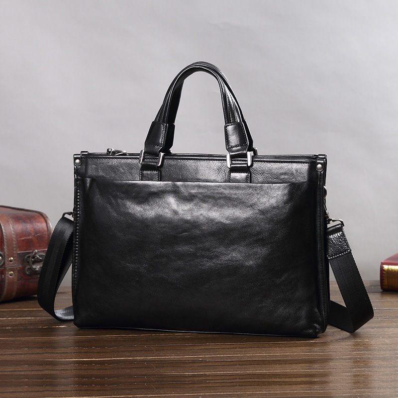 Genuine Leather Men's Handbag Male Business Briefcase Large-capacity Soft Leather Shoulder Crossbody Bag Slung Computer Bags