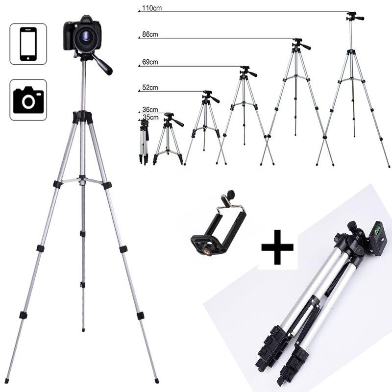 Extensível telefone inteligente móvel câmera digital tripé suporte de montagem clipe conjunto para nikon para canon para iphone 6s 7 110 cm/65 cm