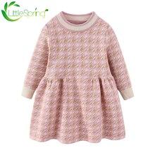 Новинка зимние клетчатые платья свитеры littlespring для маленьких