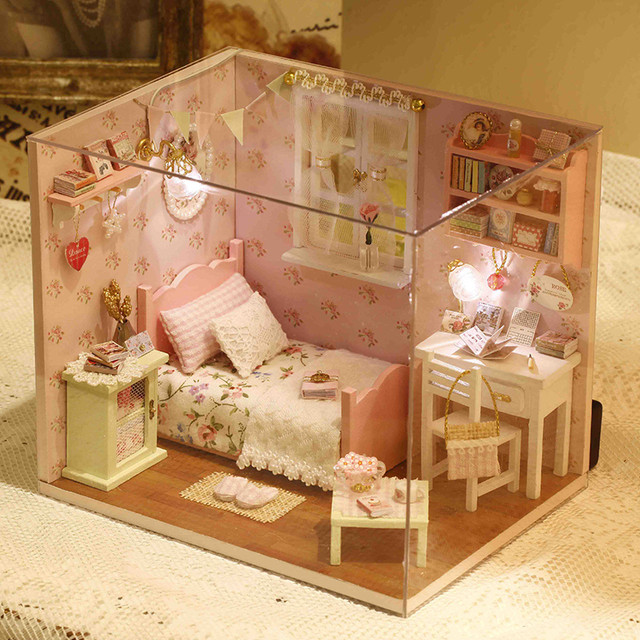 CUTEBEE-DIY-Doll-House-Miniature-Dollhouse-with-Furnitures-Wooden-House-Toys-For-Children-Birthday-Gift-Handmade