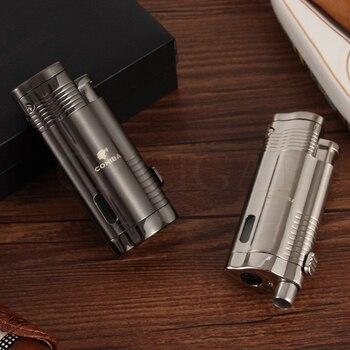 COHIBA 3 Jet Torch Flame Cigar Lighter Metal Luxury Gas Lighters Refillable Butane Pocket Cigarette Lighter W/ Cigar Punch