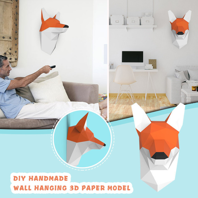 Fox Wall Hanging 3D Paper Model DIY Manual Paper Die Hanging Toy Geometric Origami Three-dimensional Composition Free Shipping 3