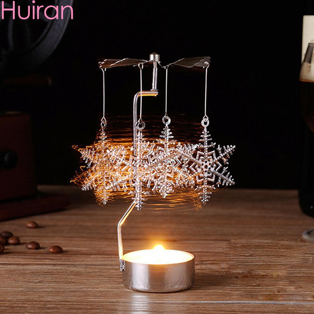 HUIRAN Christmas Spinning Candle Holder Merry Decorations for Home 2019 Ornaments Xmas Gift New Year 2020