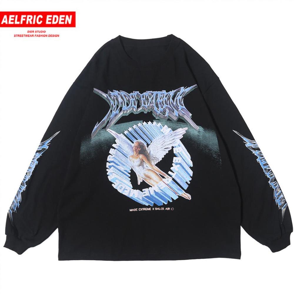Aelfric Eden Vintage Angel Sweatshirt Mens 2020 Cotton Oversize Hip Hop Pullover Sweatshirt Men Harajuku Hoodie Long Sleeve Tops