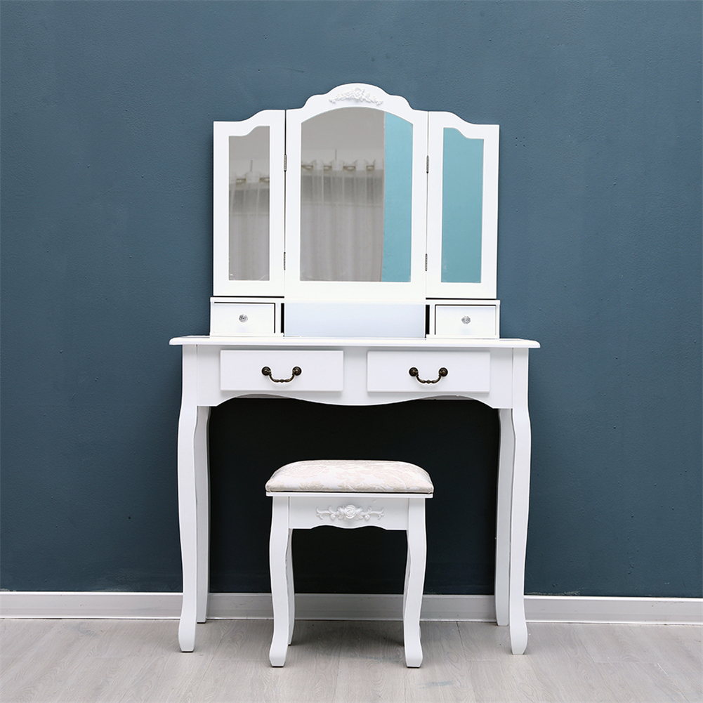 US $129.74 25% OFF|White/Black Tri Folding Mirror Makeup Dressing Table Set  With Stool Mirrors 4 Drawers Modern Bedroom Dressers on AliExpress