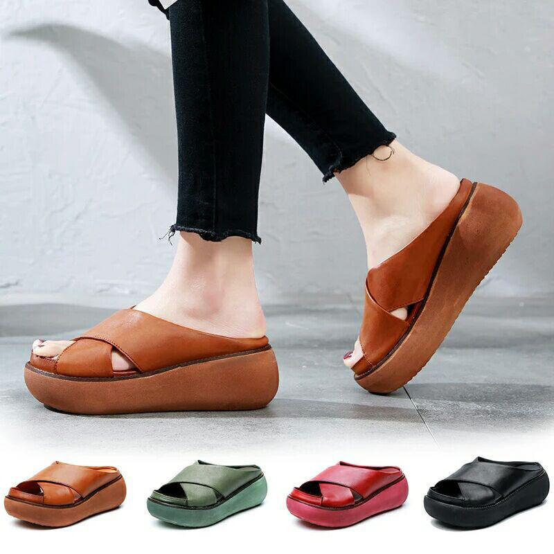 Women Summer Slippers Soft PU Leather Woman Shoes Casual Wedges Cross Retro Ladies Slippers Slide Fashion Platform Female Shoes