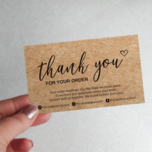 Card Paper Your-Order-Labels Thank-You Small Business 100pcs Custom Kraft for Commercial