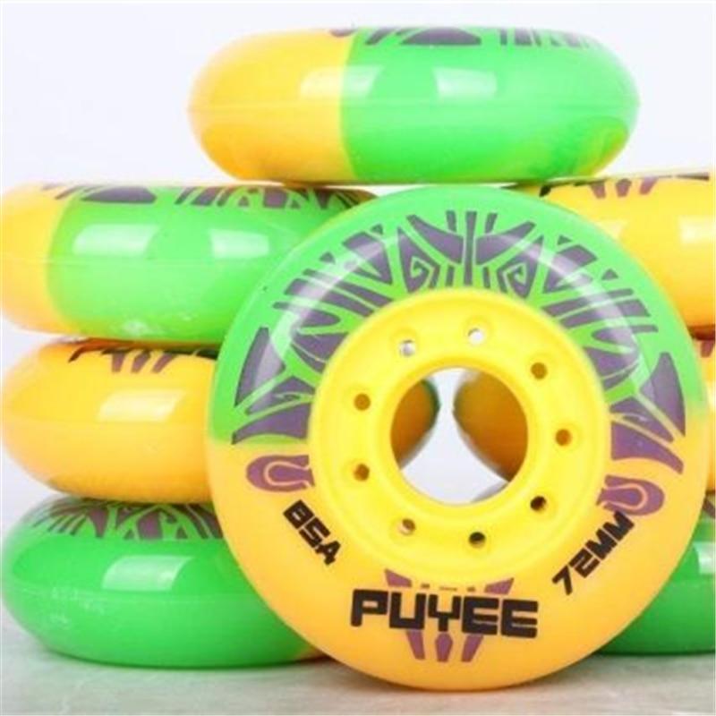 [72mm 76mm 80mm]colorful PUYEE Mixed Inline Skating Wheel For FSK Slalom Skates Patins, 85A Skates Wheels