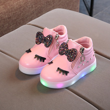 2019 Spring Bow Shoes Baby Girls Casual Kids LED Glowing Crystal Non-slip Children Sneakers