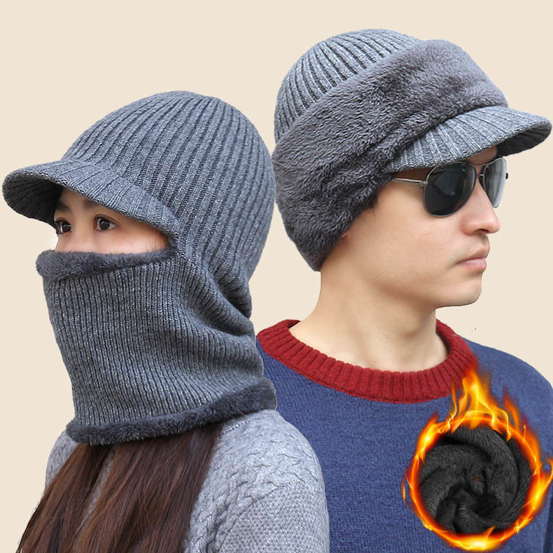 He166fabd12ab44a9aa99f6558f2856b14 - new winter fashion wool hat warm knit hat outdoor men and women cold protection cap