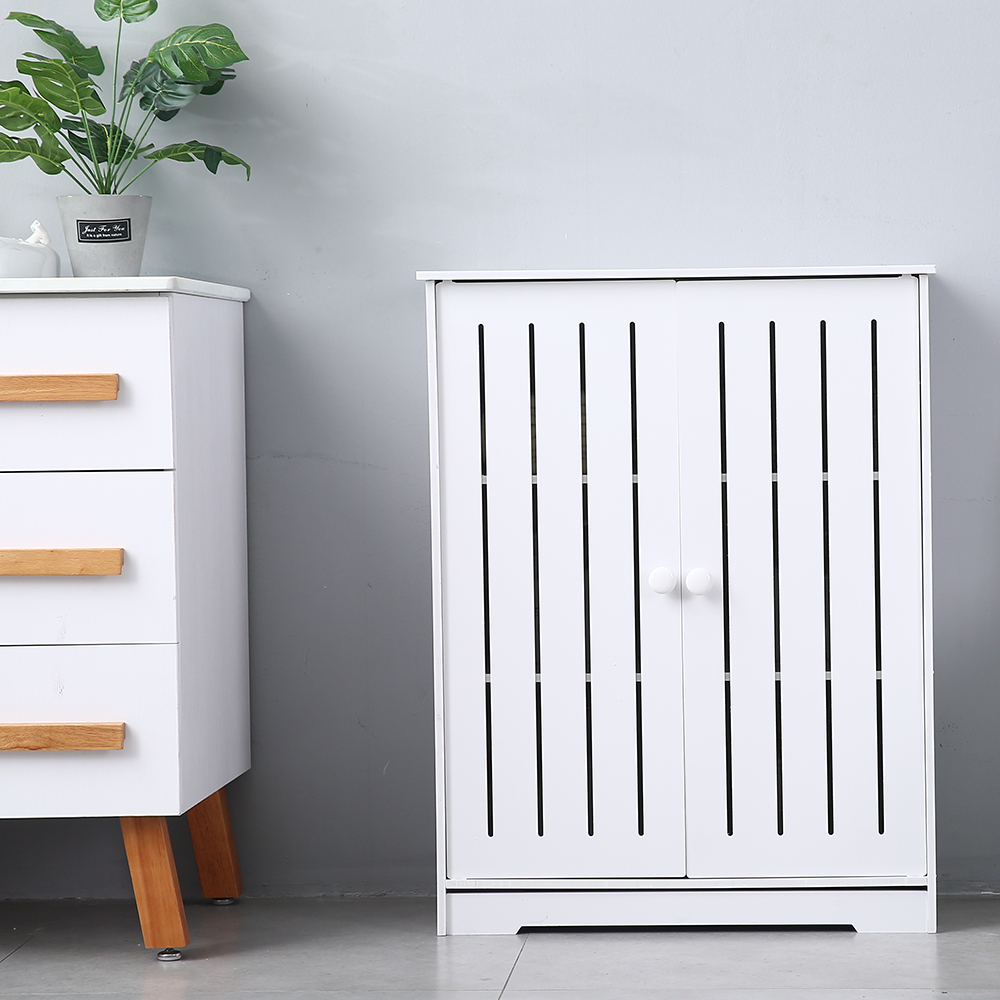 80cm High Storage Cabinet Three Layer PVC Drawer Type Double Door Locker Cabinet (63x31x80)cm