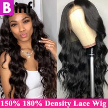 BINF 150% 180% Density Body Wave Lace Front Human Hair Wigs For Black Women Remy BazilIan Lace Wig Pre Plucked With Baby Hair