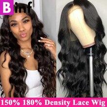 BINF 150% 180% gęstość ciało koronkowa fala przodu włosów ludzkich peruk dla czarnych kobiet Remy BazilIan koronkowa peruka pre oskubane z dzieckiem włosy
