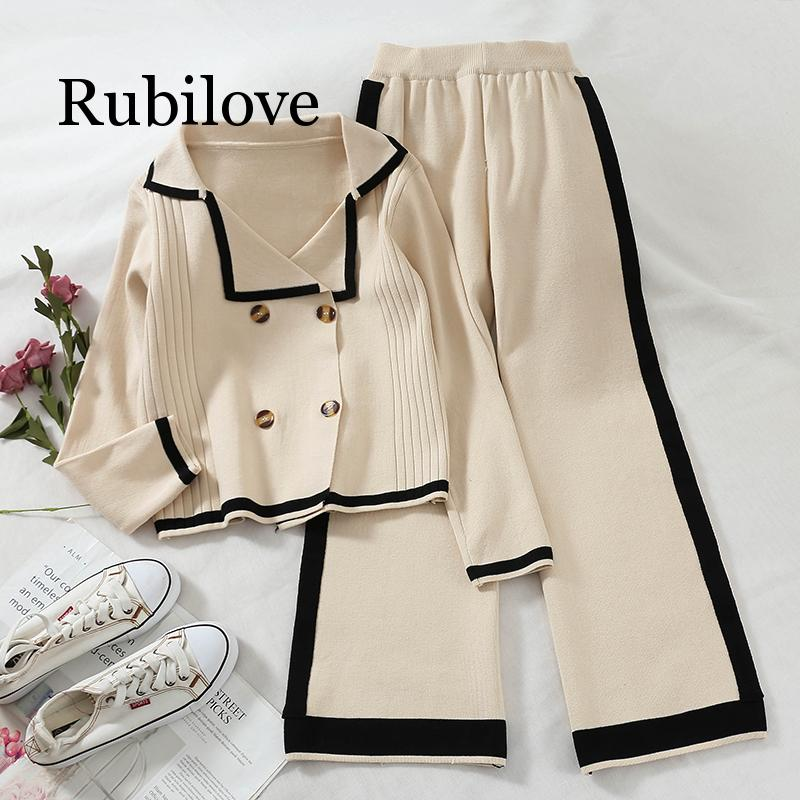 2019 Women Two Piece Set Top And Pants  Stripe Double Breasted Sweater High Waisted Wide Leg Casual Pants Knitted Suit