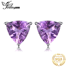 FEELCOLOR Natural Gemstone Purple Amethyst Stud Earrings For Women Genuine 925 Sterling Silver Accessories Trillion Cut 2015 New