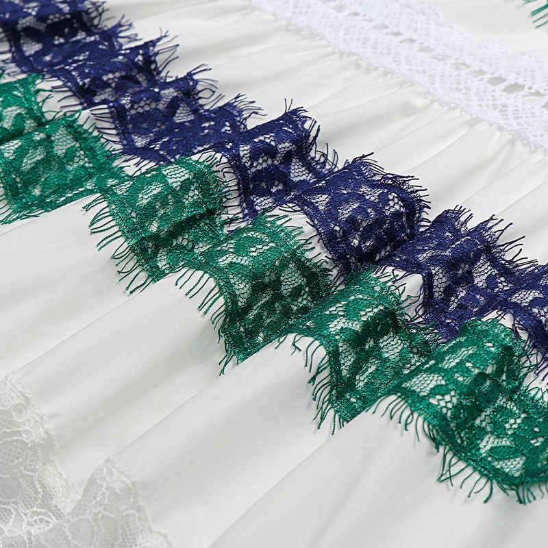 GuLiNa כוכב עם תחרה שמלה נשי קיץ להכות ארוך צבע תפרים גזה חלול החוצה את הרתמה על חג