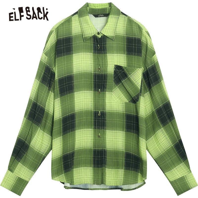 ELF sac Plaid rayé Carton imprimé blouse décontractée chemise haut pour femme 2019 automne vert à manches longues Vintage dames Blouses - 6