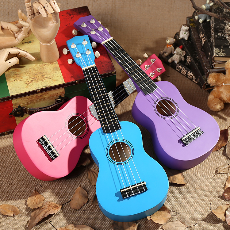 High Quality Solid Wood 21-Inch CHILDREN'S Guitar Wu Ukulele Wooden Music Toy Small Guitar Beginners Piano