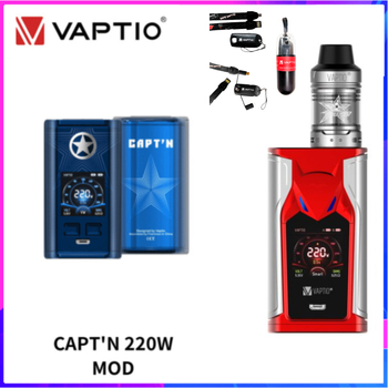 Free Kit! Original Vaptio CAPT'N MOD Box Vape Mod With super bat Kit 220W Electronic Cigarette 18650 Battery Mod Vape vaptio capt n mod 220w 510 box mod with gift fusion e vape kit dual 18650 battery box mod electronic cigarette fusion core head