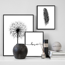 Black White Dandelion Feather Love Quote Wall Art Canvas Painting Nordic Posters And Prints Plants Pictures For Living Room