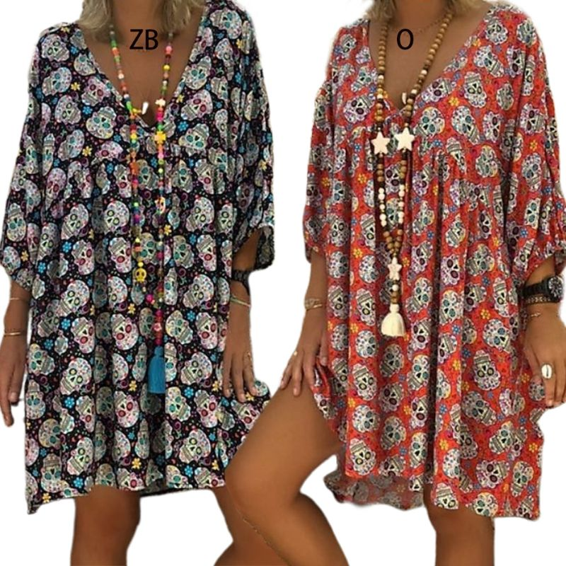 Women Plus Size V-Neck 3/4 Sleeves Loose Flowy T-Shirt Dress Halloween Skull Floral Casual Flared Party Tunic Sundress S-5XL