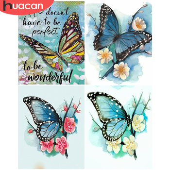 HUACAN Paint By Number Butterfly DIY Pictures By Numbers Animal Kits Drawing On Canvas Hand Painted Painting Art Gift Home Decor