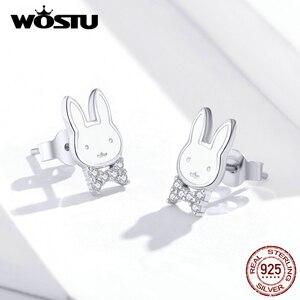 Image 3 - WOSTU pendientes de conejo de animales para mujer y niña, de Plata de Ley 925, joyería de plata para Boda nupcial