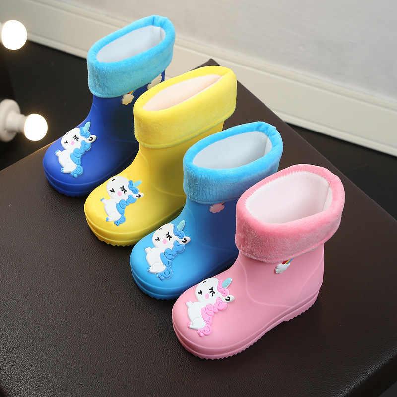 2020 yeni çocuk yağmur çizmeleri çocuk karikatür Unicorn ayakkabı kızlar için su geçirmez kauçuk erkek bebek kaymaz sıcak çıkarılabilir