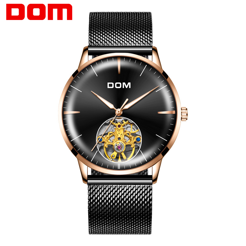 DOM Original Brand Watch Men Automatic Self-Wind Stainless Steel 3ATM Waterproof Fully   Automatic  Mechanical Watch Male