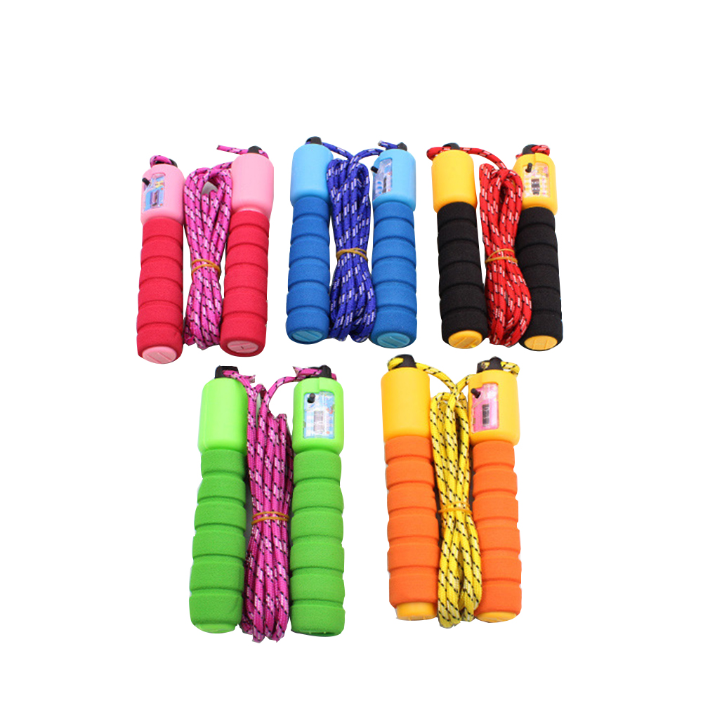 1pc Adjustable Length Skipping Rope Automatic Counting Nylon Sponge Handle Electronic Counting Jump Rope Random Color