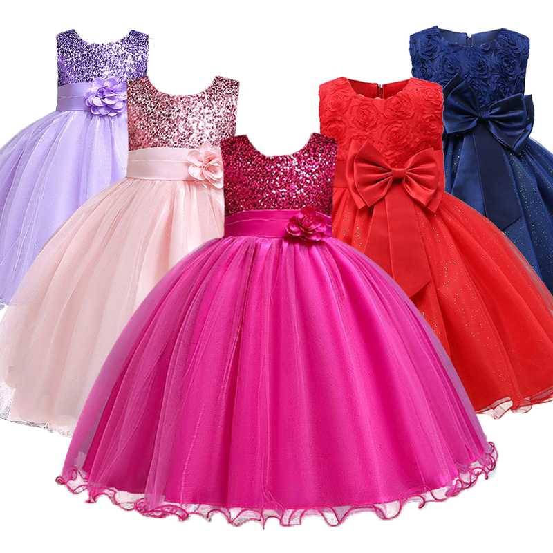 1-14 yrs teenagers Girls Dress Wedding Party Princess Christmas Dresse for girl Party Costume Kids Cotton Party girls Clothing 1