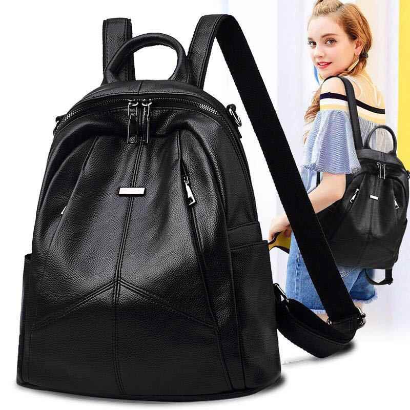 2019 Pu Leather Ladies Backpack Women Bag Black Soft High Quality Solid Bagpack woman Multi-pocket Travel BackBag