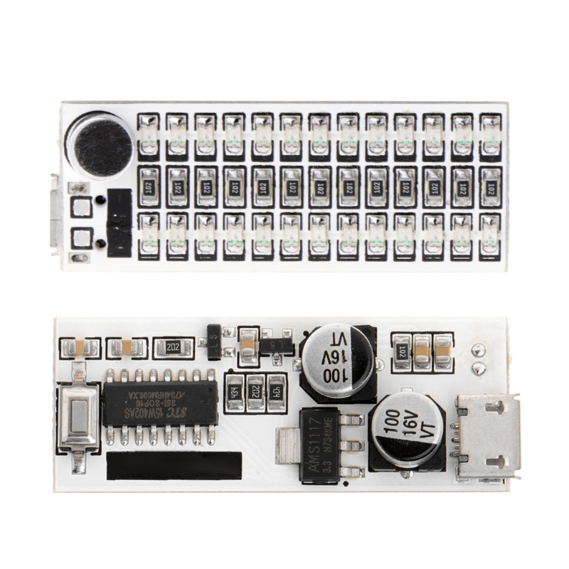 USB Mini Music Spectrum Light 2x13 LED Board Voice Control Sensitivity Adjust