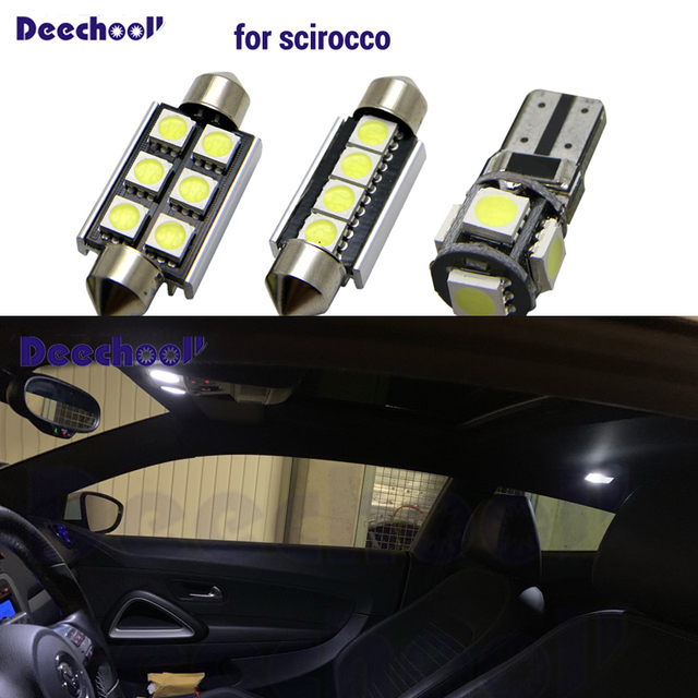 11 قطعة سيارة LED لمبات ل VW Scirocco ، لمبة مصابيح داخلية بيضاء ل Volkswagen Scirocco مصباح سقف
