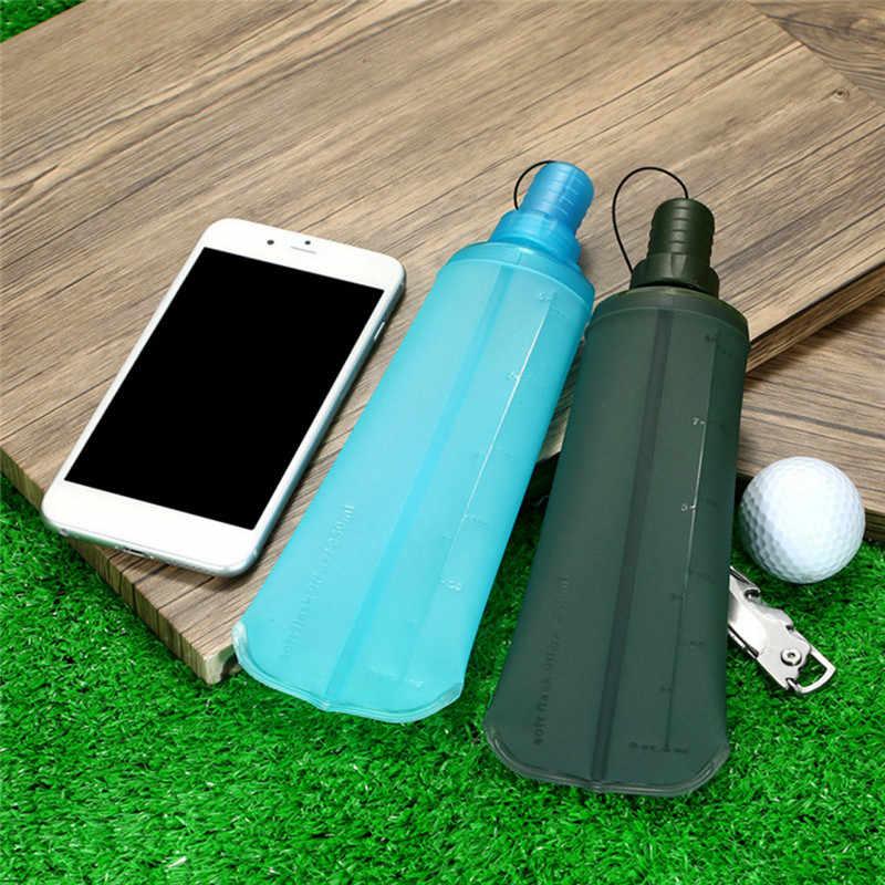 زجاجة 250 مللي/500 مللي قابلة للطي من البولي يوريثان زجاجة رياضية للاستخدام الخارجي قارورة مائية ناعمة قابلة للطي زجاجة مياه للشرب للجري والتخييم والتنزه