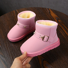 Rivet Children Shoes Winter Boots For Little Girls Warm Toddler Kid Snow Waterproof Leather 2 3 4 5 6 7 8 9 10 11 12