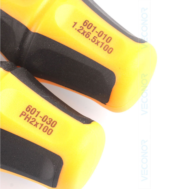 2PCS Precision Screwdriver Set of Hand Tools Magnetic Head Slotted & Phillips Head 1.2X6.5X100 & PH2X100 Plastic &Rubber Handle