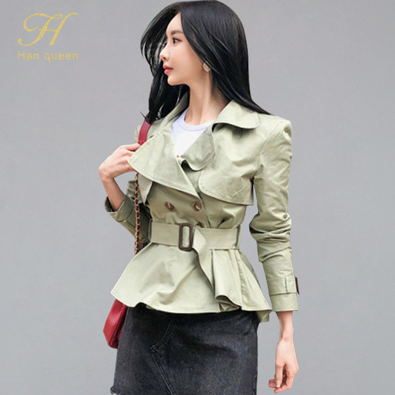 H Han Queen Women's Orean Style OL Double-breatsed Short Trench OL Casual Fashion Outwear Coat Notched Neck Belt Trenches Femme