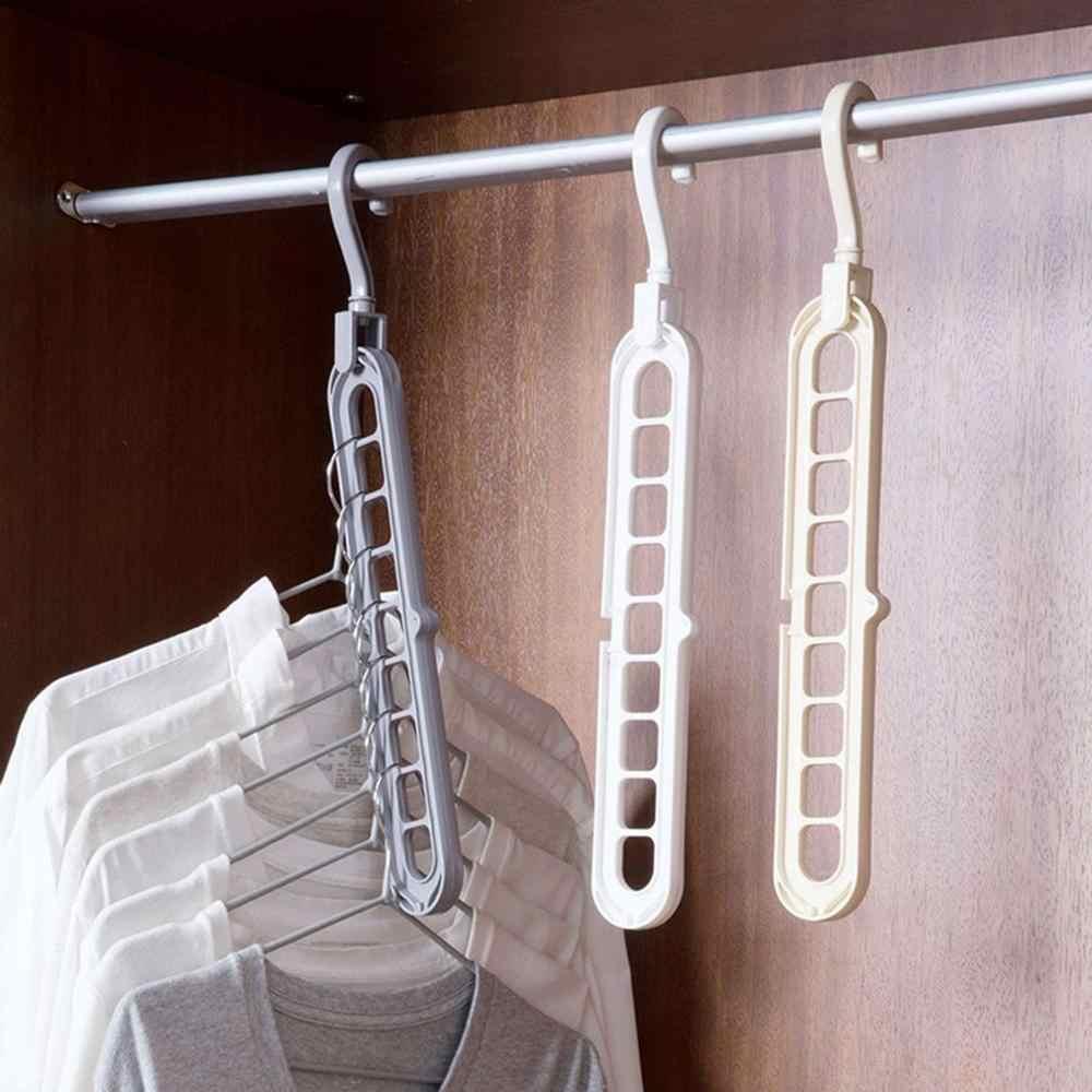 Obrotowy wieszak z dziewięcioma otworami wielofunkcyjny wielowarstwowy składany magiczny wieszak schowek na ubrania plastikowy stojak
