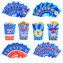 6pcs/set Captain America Spiderman Popcorn Box Cartoon Figure Candy box for Kids Boys birthday Party Favor Gift Supplies