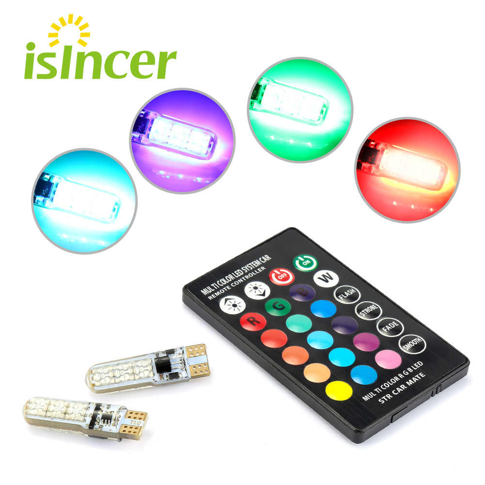2x T10 Led 194 168 W5W 5050 SMD RGB Mobil Dome Membaca Lampu Mobil Baji Lampu RGB Bohlam LED dengan remote Controller