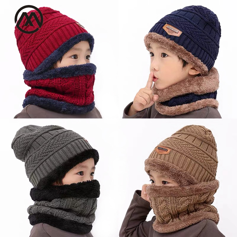 Winter Warm Children's Knit Hat Plus Velvet Warm Bib Ski Mask Boy / Girl Hat Cute Baby Soft Hat Peas Scarf Velvet Headwear