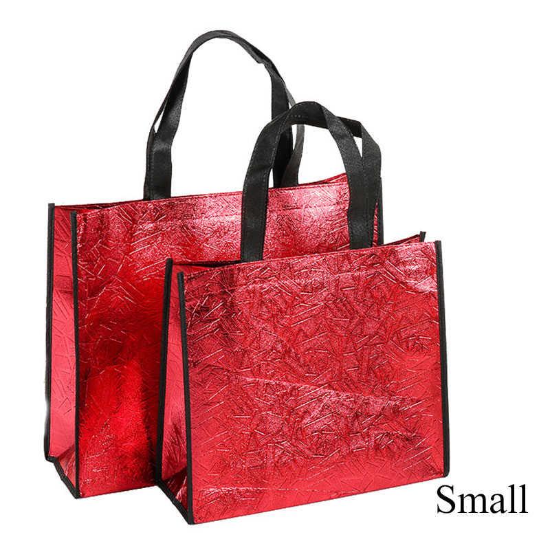 Vrouwen Herbruikbare Boodschappentas Goud Zilver Shiny Eco Tas Canvas Reizen Opbergzakken Glitter Rode Shopper Tas Boodschappen Pouch